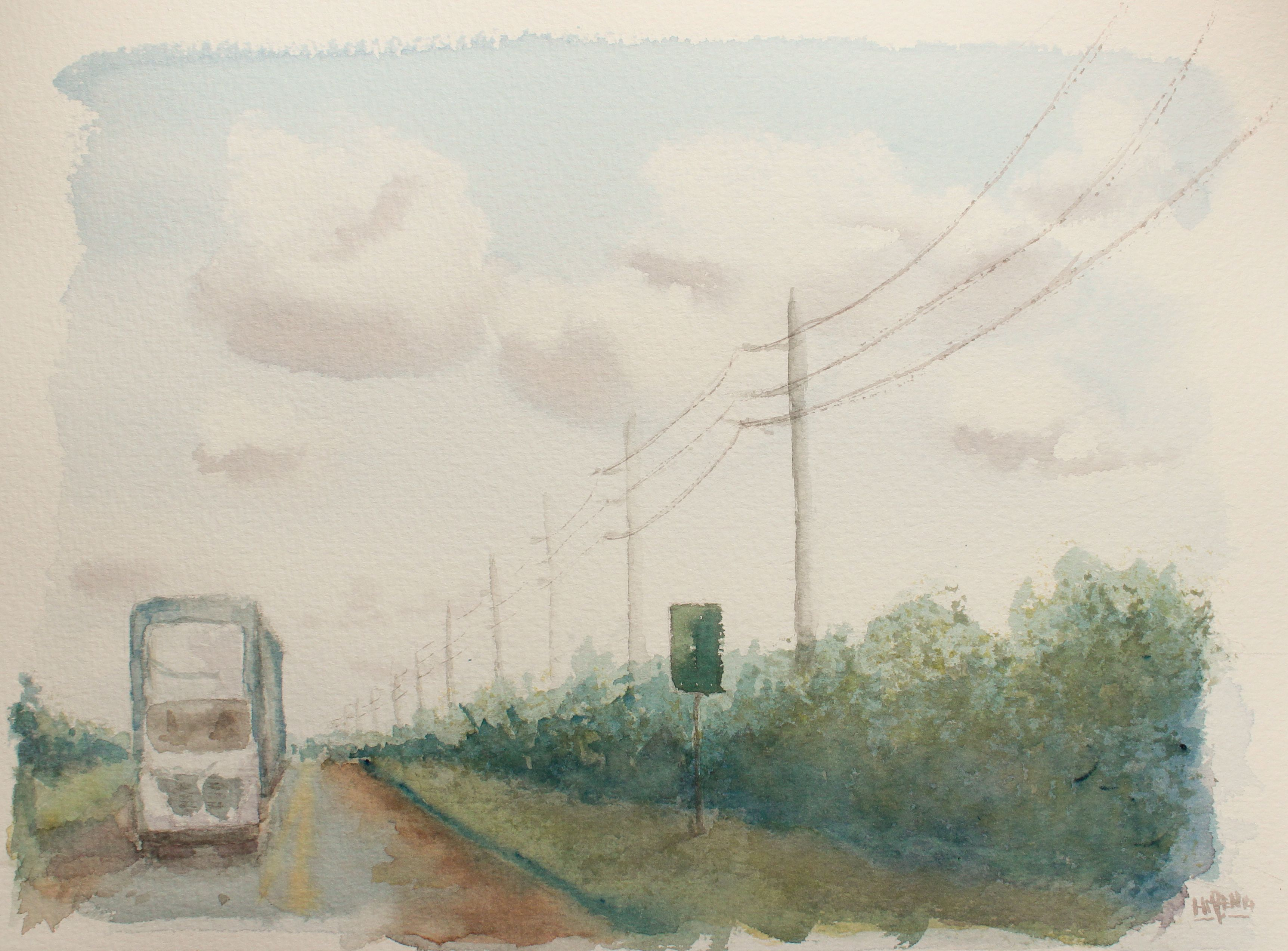 Acuarela de recuerdo del viaje a Orlando - Carretera a los Cayos. Watercolor to remember the trip to Orlando - Road  to the Keys. HMZEN'14