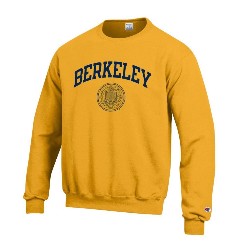 U C Berkeley Cal Arch Seal Champion Crew Neck Sweatshirt Gold Baju Olahraga [ 1000 x 1000 Pixel ]