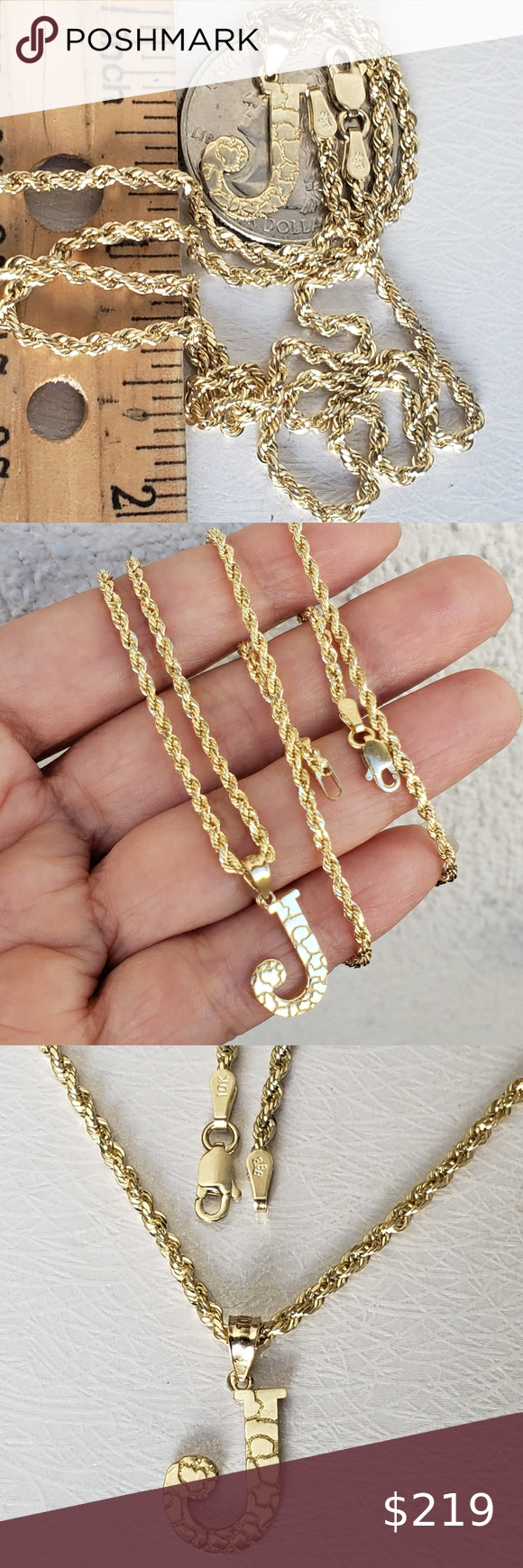 10k Gold Initial J 10k Gold Rope Ch 100 All Real Genuine 10k Gold 2 Piece Chain And Charm Set Set Real 10k Ye In 2020 Gold Initial Womens Jewelry Necklace 10k Gold