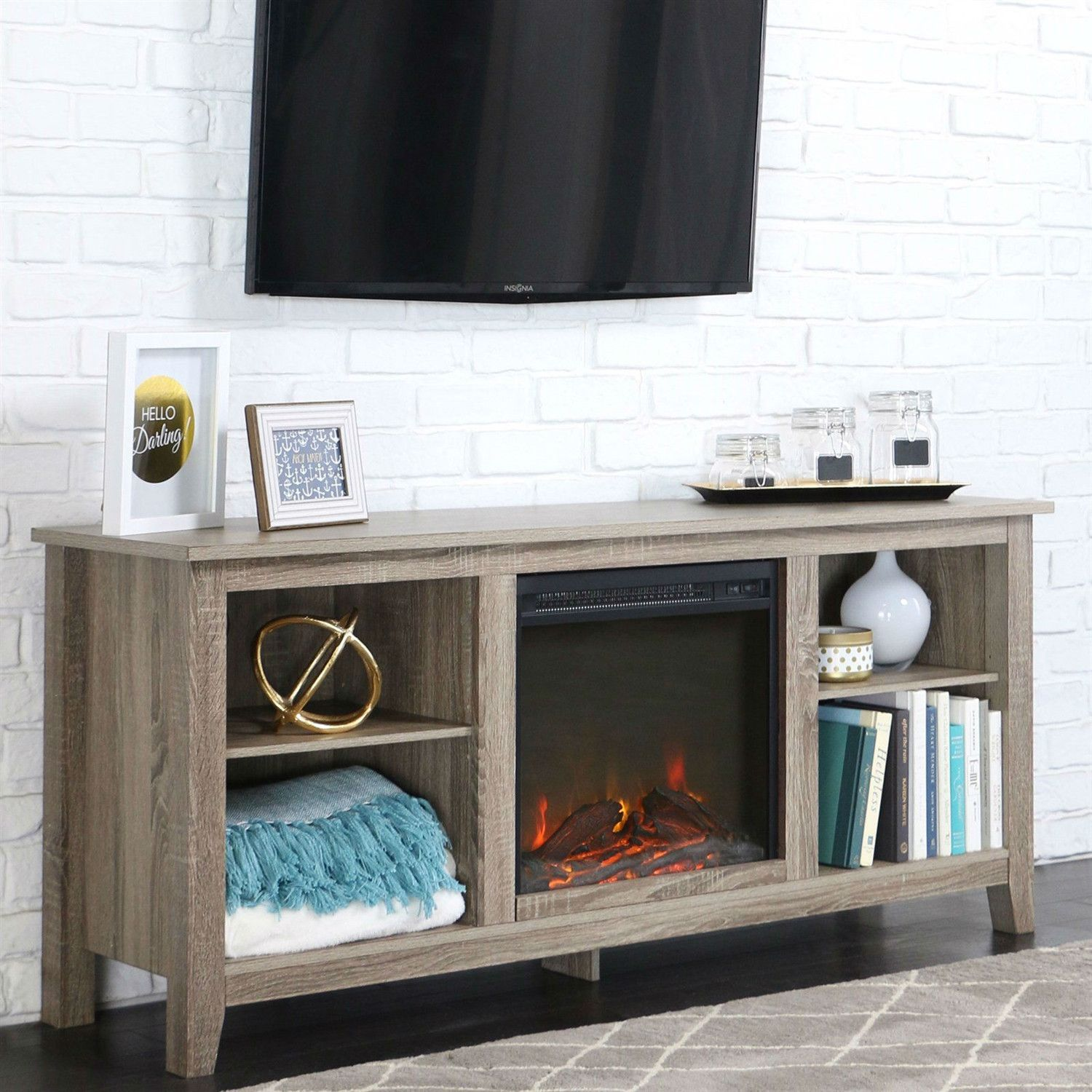 driftwood 58 inch electric fireplace tv stand space heater