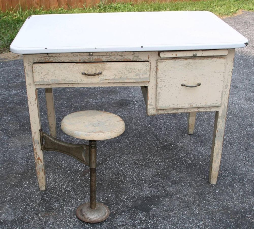 Enamel top kitchen table - Vtg Enamel Top Kitchen Table Swing Out Stool Seat Chic Porcelain Hoosier Cabinet