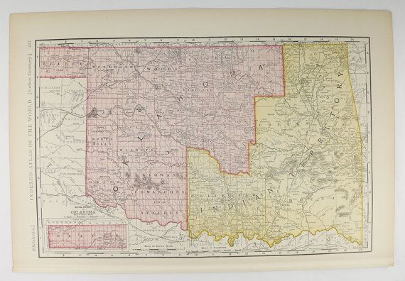 State Map Of Kansas And Oklahoma.Old Oklahoma Map Indian Territory Map 1897 Vintage Map Oklahoma
