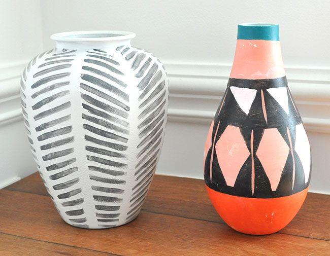 Diy Painted Tribal Vases Faux Pottery Boho Vase Diy Vase