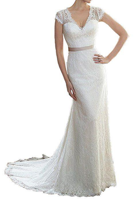 Milano Bride Elegant Etui-Linie Kurzarm V-Ausschnitt ...