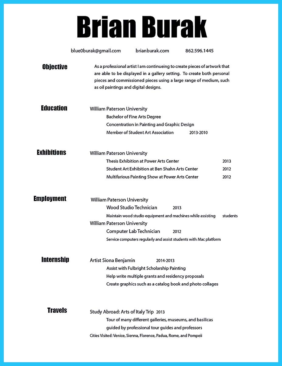 Artist Resume Examples If You Are An Artist And You Need To Make A Resume You Need To