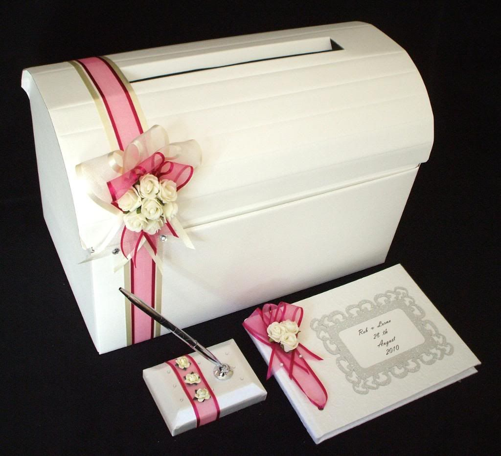 wedding card box ideas   Wedding Rose Card Post Box Guest Book Pen ...
