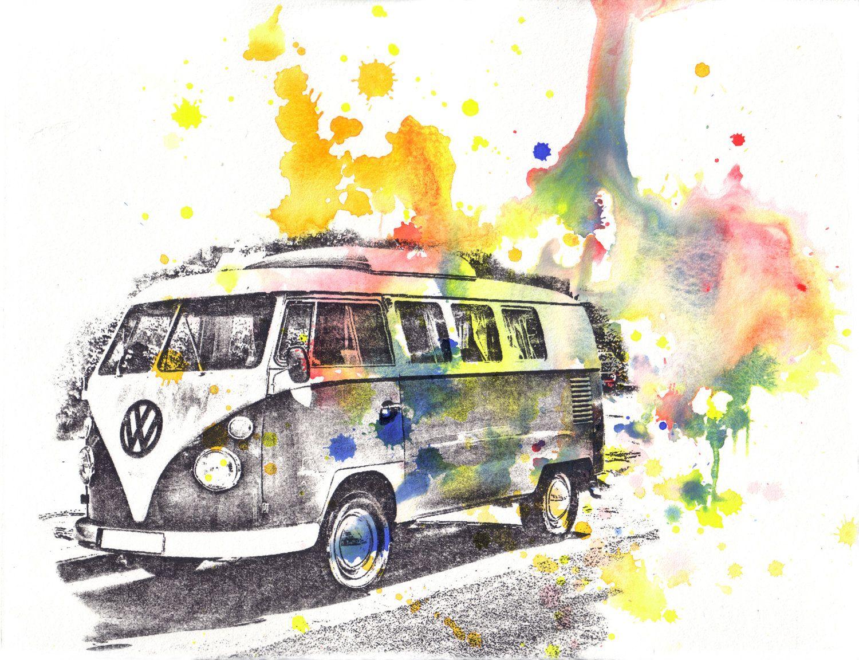 retro vintage art volkswagen vw van bus watercolor painting original watercolor painting car. Black Bedroom Furniture Sets. Home Design Ideas