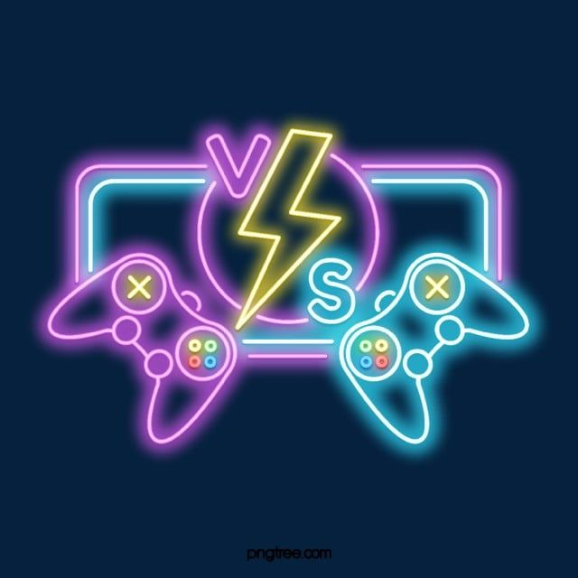Neon Game Hall Vs Game Sign, Confrontation, Match, Game PNG Transparent Clipart Image and PSD File for Free Download