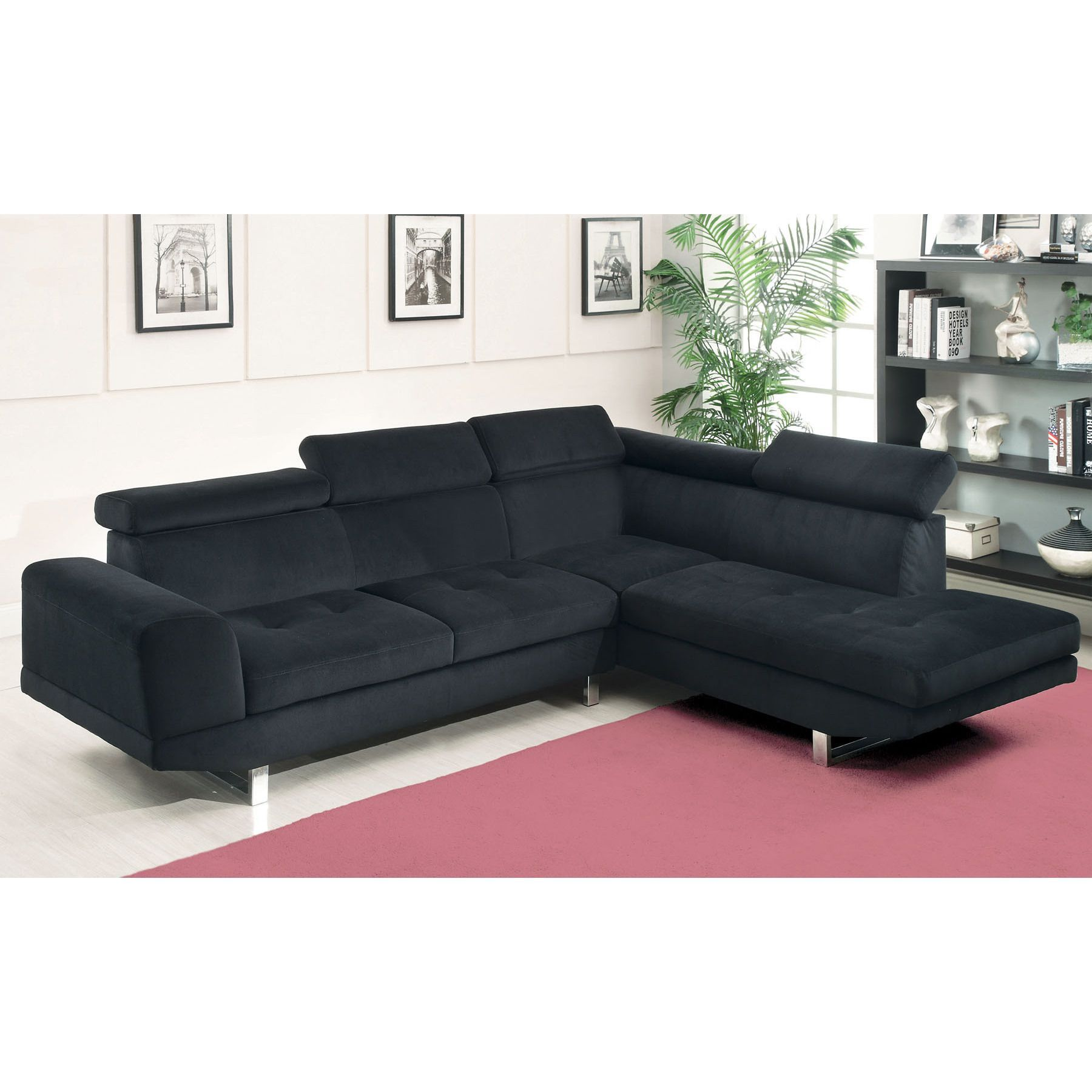 Sopron Contemporary Style Sectional Sofa in Black Bella Fabric