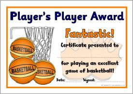 basketball club award certificates sb9550 sparklebox