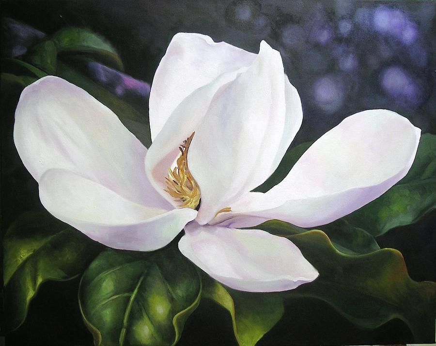 Magnolia Flower In 2019 Art Greens Magnolia Paint Magnolia