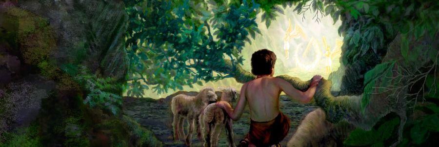 Abel de niño observando a los querubines cerca de la entrada del jardín de Edén
