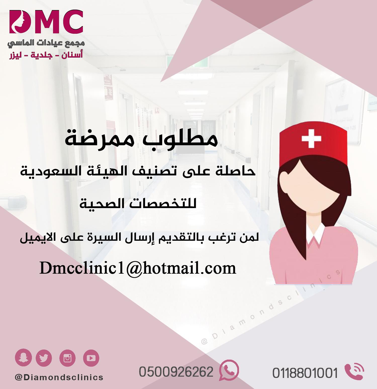 مطلوب ممرضة حاصلة على تصنيف الهيئة السعودية للتخصصات الصحية لمن ترغب بالتقديم إرسال السيرة على الايميل Dmcclinic Omc Movie Posters Poster