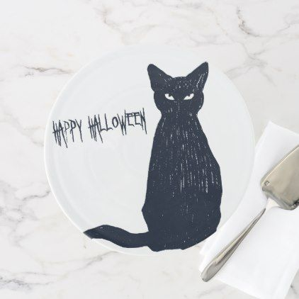 Halloween Black Cat Silhouette Cake Stand - halloween decor diy cyo - unique halloween decor