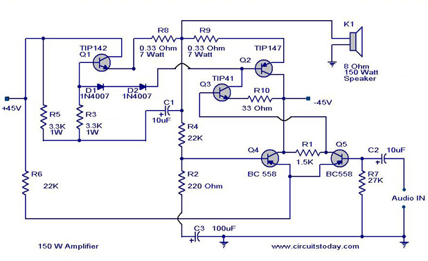 150-watt-amplifer-circuit