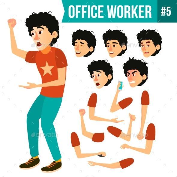 Office Worker Vector  Face Emotions, Various | 3d Design