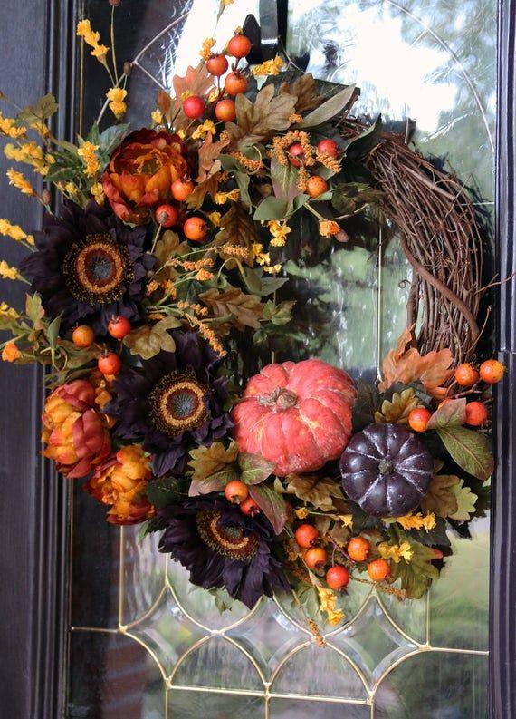 Photo of Herbstkranz für Haustür mit Kürbissen, Vintage Bauernhaus Sonnenblumenkranz, Herbst Haustür Dekor, rustikale Land Ernte Dekor