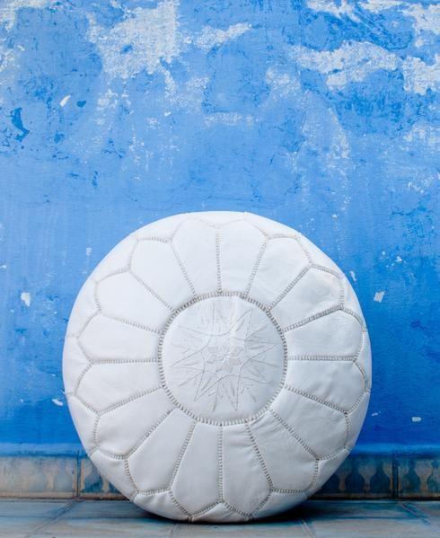 Premium Moroccan Leather Pouf Ottoman Pouffe Genuine WHITE ...