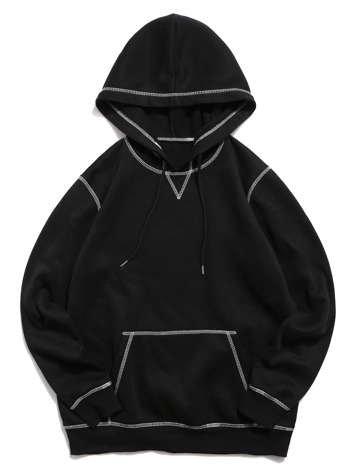Stitching Decorated Solid Color Casual Hoodie Black Aff Solid Decorated Stitching Color Black Ad Casual Hoodie Hoodies Black Hoodie [ 1596 x 1200 Pixel ]