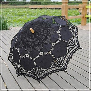 Antique Black Patchwork Fashional Embroidered Gothic Lace Carnivale Parasol Steampunk Circus Wedding Bridal Umbrella - GBP £ 18.24