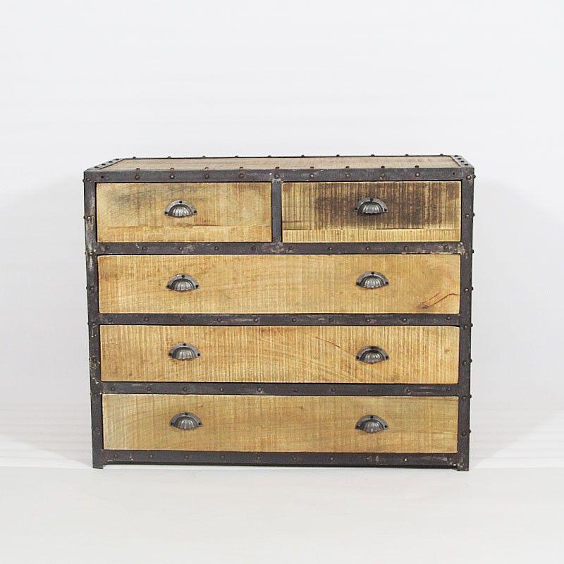 commode loft industrielle en bois et cadre m tallique. Black Bedroom Furniture Sets. Home Design Ideas