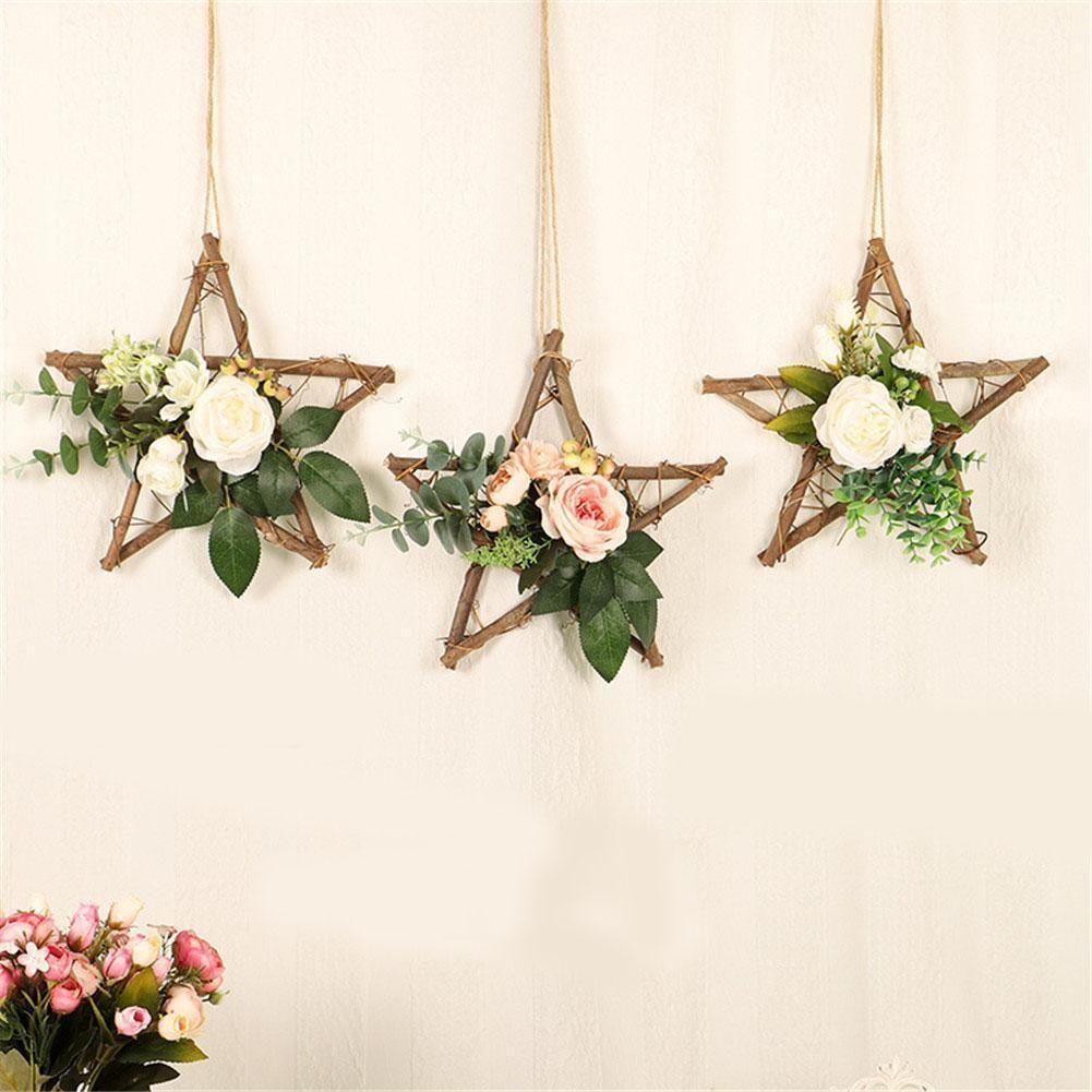 Home Decoration Craft Artificial Flower Wreath Wooden Pentagram