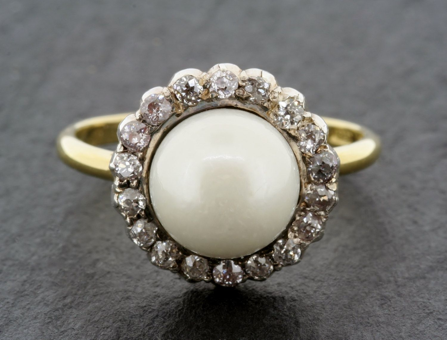 Antique Pearl Engagement Ring  Victorian Pearl & Diamond 18ct Gold Cluster Engagement  Ring