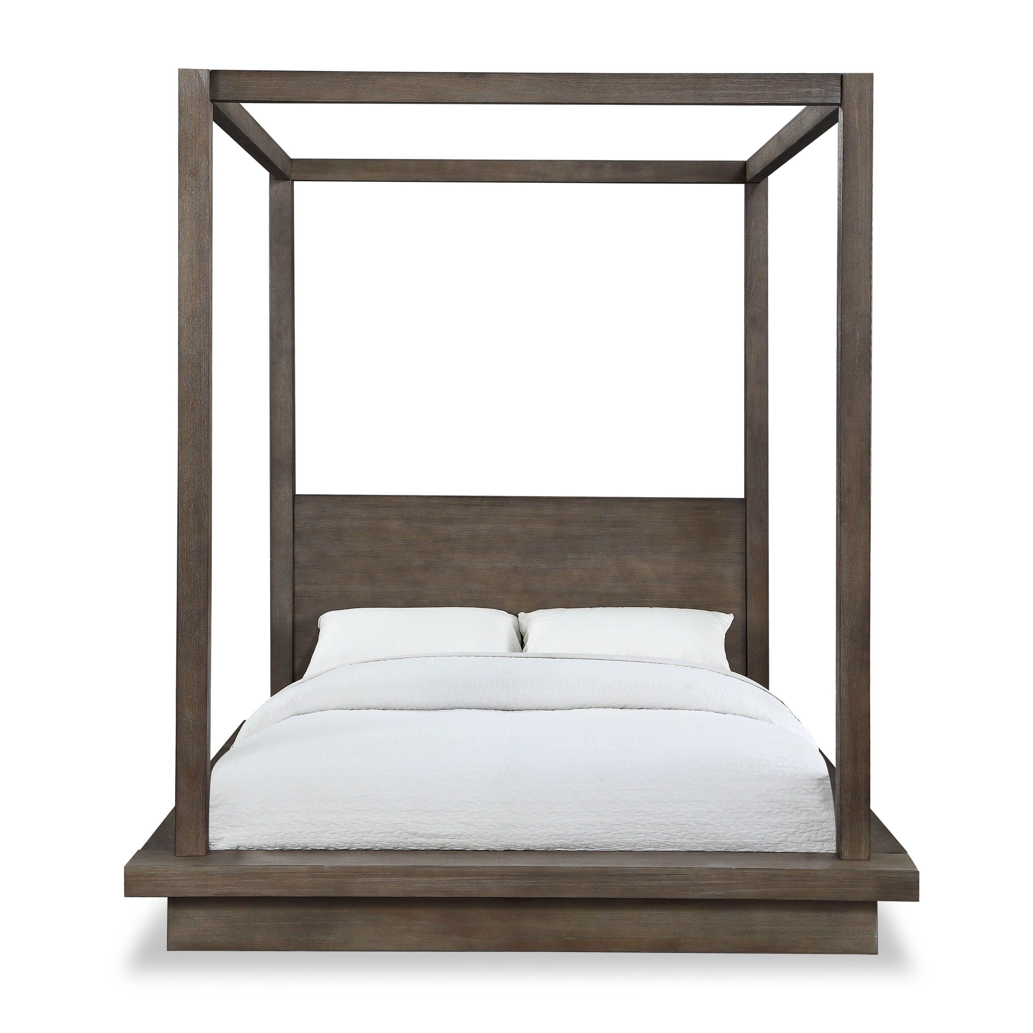 Best Melbourne California King Canopy Bed In Dark Pine Brown 400 x 300