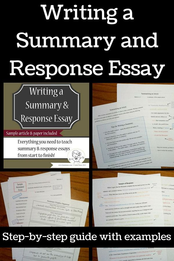 Summary And Response Essays  Complete Unit  Language Arts School