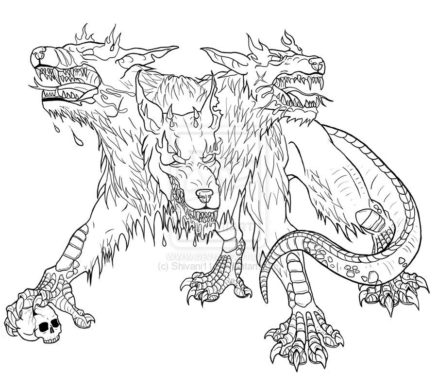 Image Result For Cerberus Greek Mythology Line Art Mythology