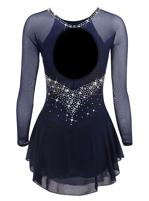 Disfraz De Competici/ón De Patinaje sobre Hielo Azul Oscuro Mangas Largas Vestido Hecho A Mano De Patinaje Art/ístico para Ni/ñas Y Mujeres