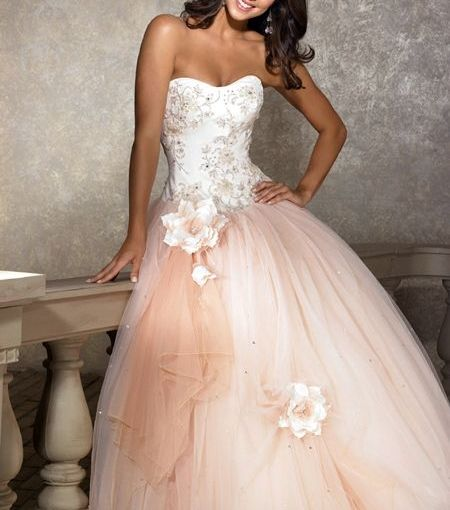 Cheap Light Brown Sweetheart Strapless Beading Ball Gown Prom Dress