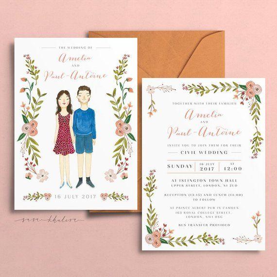 Illustrated Wedding Invitation | Custom Wedding Invitation ...