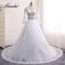 Miaoduo Vestido de noiva Long Sleeves Wedding Dresses Sheer Tulle Back Lace Appliques  Wedding Gowns Bead cebe0ddd8ddd