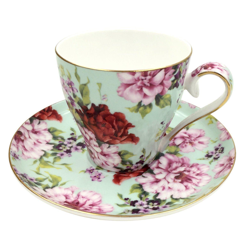 Amazon Com Jsaron Vintage Flower Tea Coffee Cup With Spoon And  ~ Tazas Para Infusiones El Corte Ingles