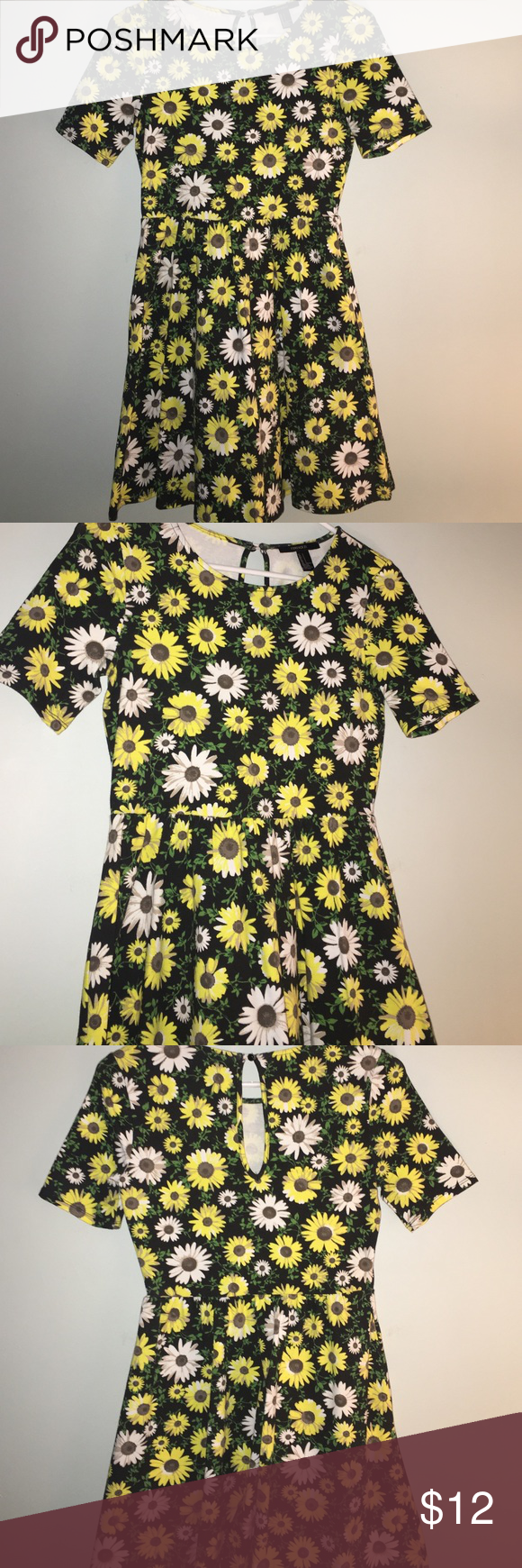 Sunflower Dress Short Sleeve skater style dress, sunflower designs, forever 21 Forever 21 Dresses