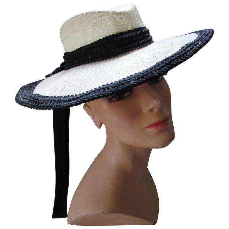c54464f3690 Vintage White Straw and Black Trim Wide Brim Hat Designer Protection Label