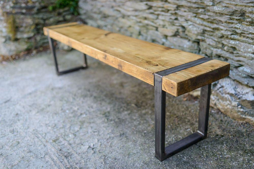 Industrial Vintage Bench Seat Handmade Reclaimed Wood Metal