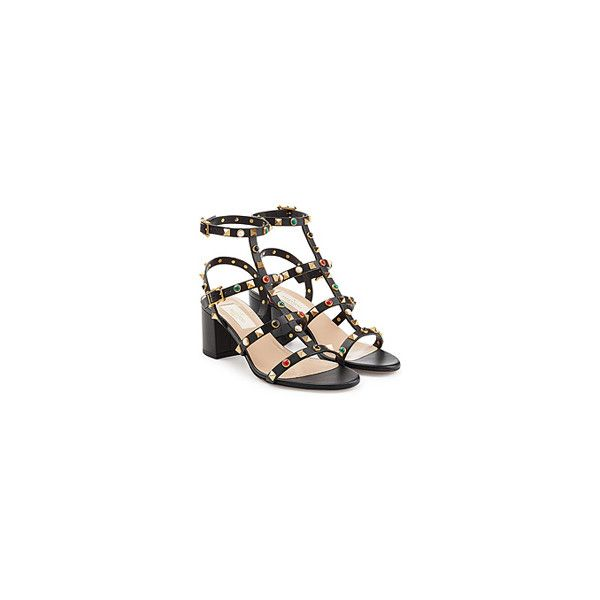 a2e6eaef9948 Valentino Rockstud Rolling Leather Sandals (£695) ❤ liked on Polyvore  featuring shoes