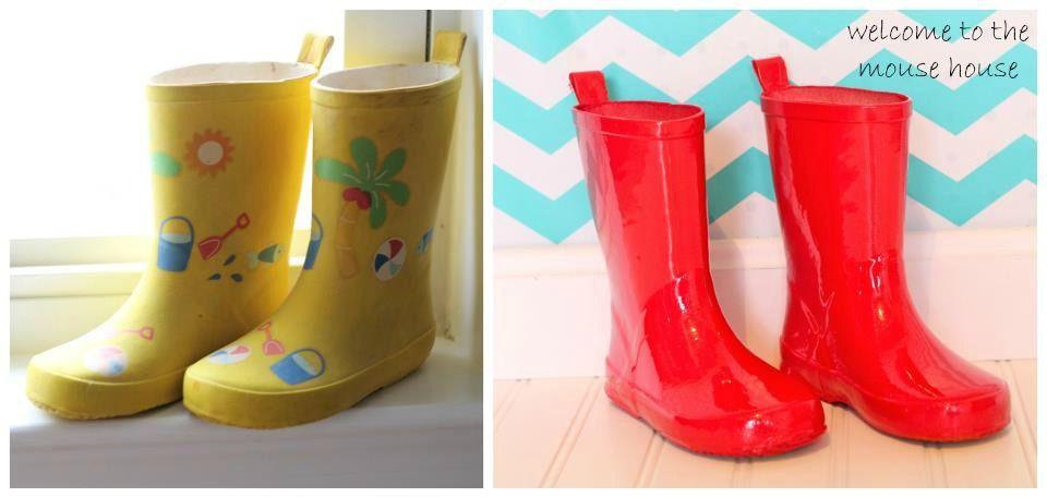 47a54cf36c1 Such a great idea  Rain Boot Redo!