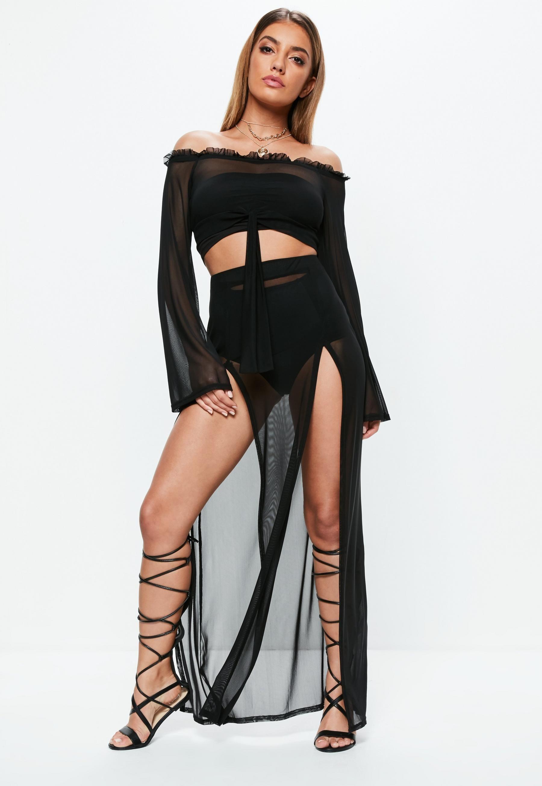 df6249829b5 Black Mesh Bardot Top | Missguided Australia | plt.com | Black mesh ...