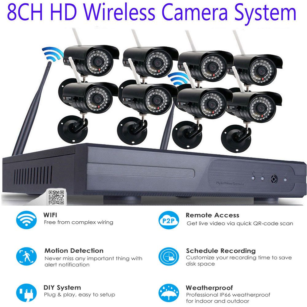 Wireless Security IP Camera System 4/8CH 1080p WIFI NVR