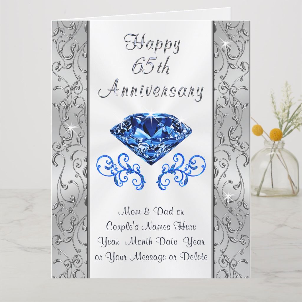 Big Beautiful 65th Wedding Anniversary Cards
