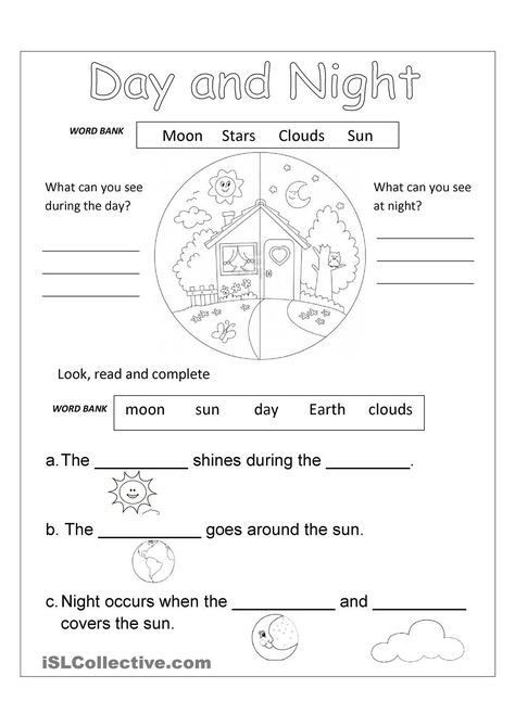 Day And Night Free Worksheet Free Science Worksheets Science Worksheets Kindergarten Worksheets