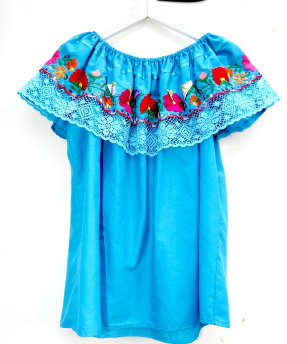 Mexican top, Mexican blouse, Blue Embroidered blouse, Bohemian clothing,  Bohemian blouse, Women's Clothing, Embroidered top, Womens tops,