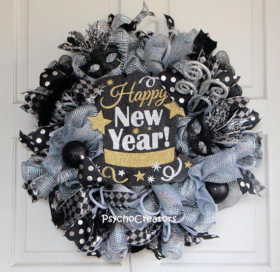 New Years Wreath Happy New Year Door Hanging New Year ...