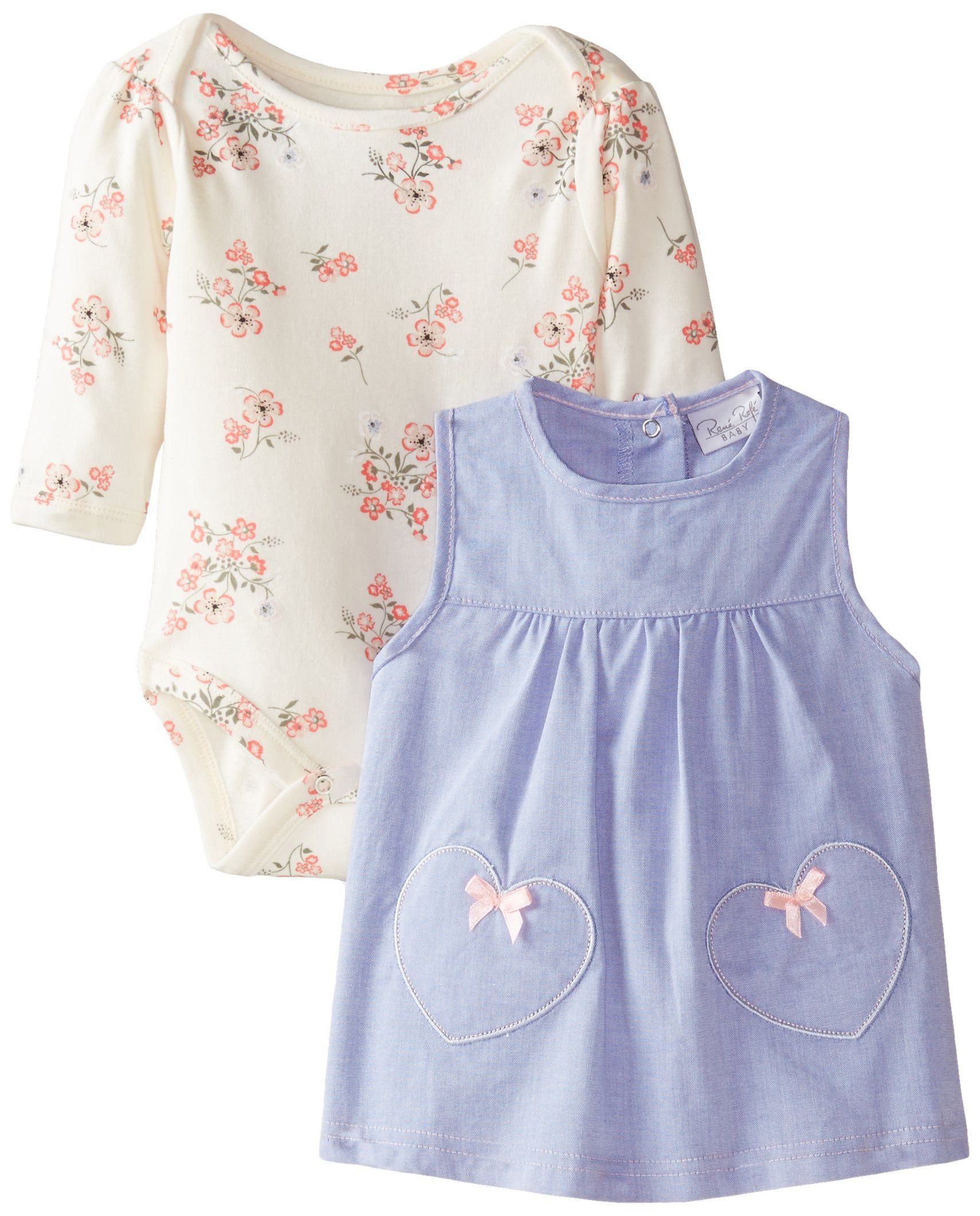 e8869d344ad2 Amazon  Rene Rofe Baby Baby-Girls Newborn Heart and Floral Chambray ...