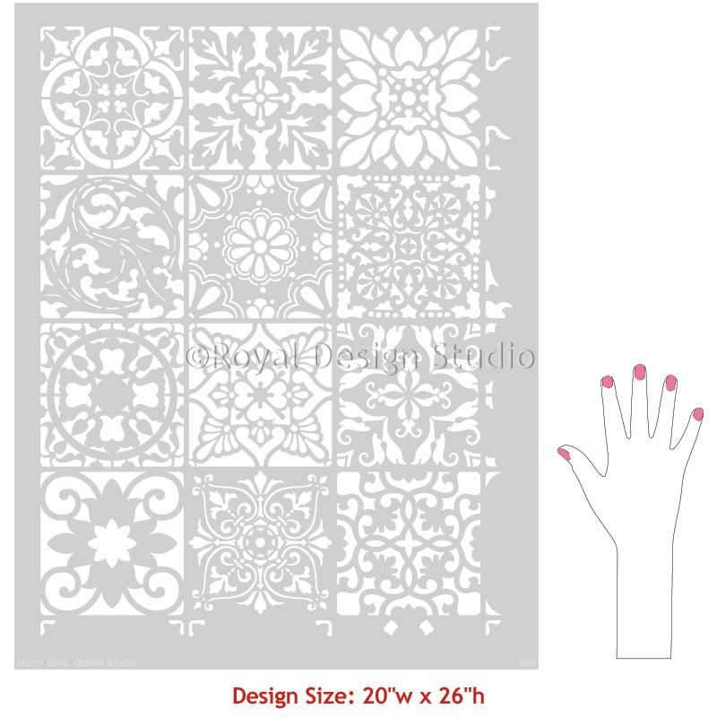 Paladeo Allover Tile Stencil | Patchwork tiles, Pattern painting and ...