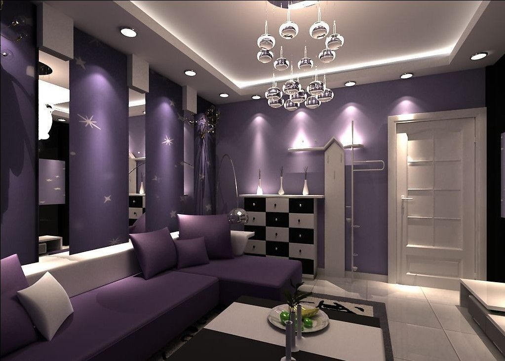 Purple walls purple walls and purple sofa for living for Purple and green living room ideas