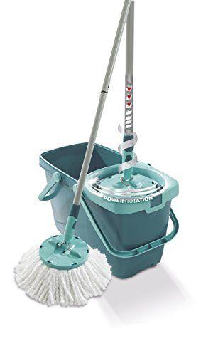 Leifheit 52019 Twist Disc Floor Mop And Bucket Set Turquoise Domestic Cleaning Mops Bucket
